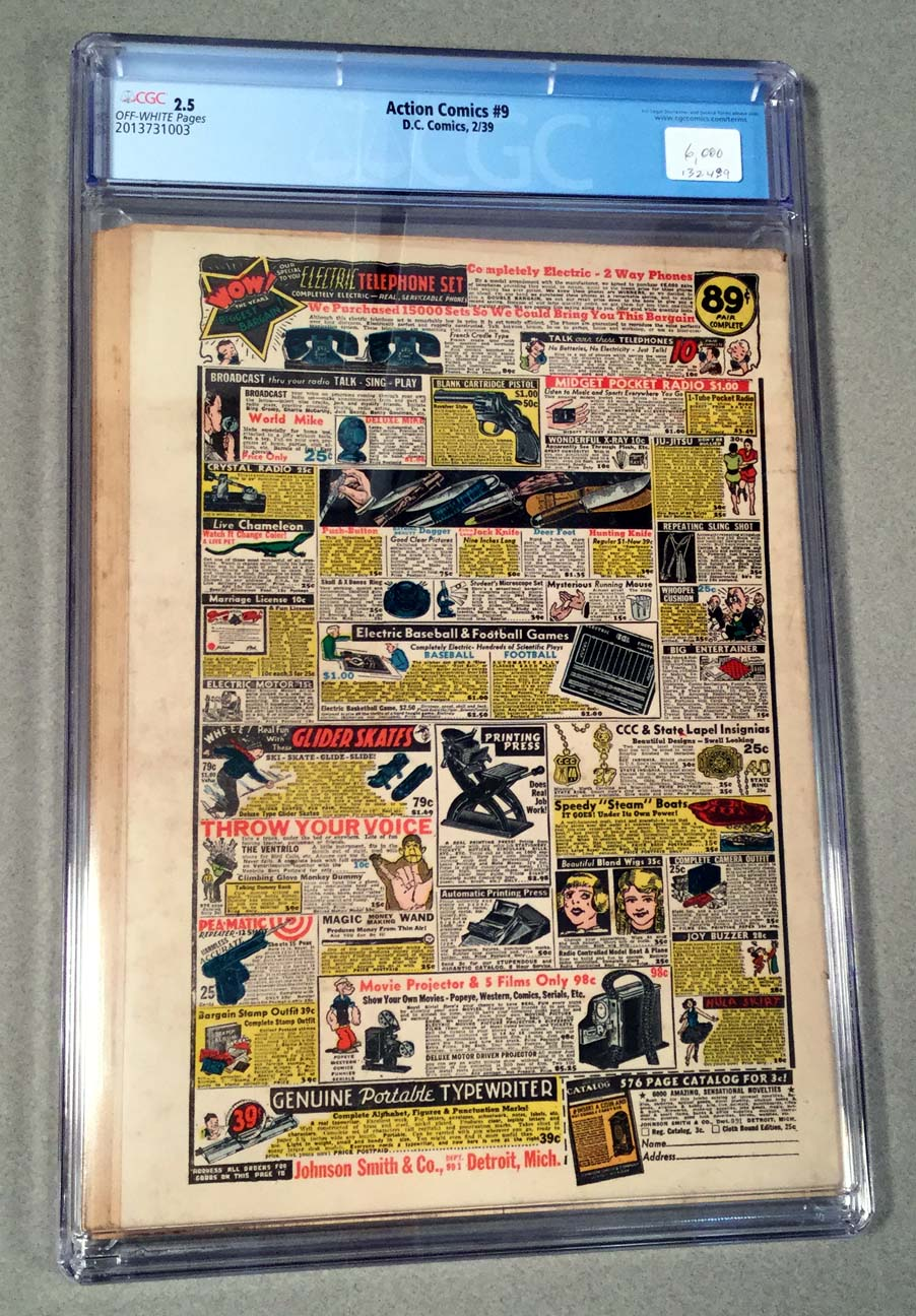 Action Comics #9 CGC 2.5 Back Cover