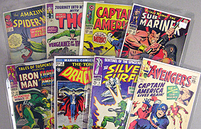 Some of our favorite Marvel silver age comics including:Avengers, Amazing Spider-man,Thor, Captain America, Sub-Mariner, X-men and Silver Surfer
