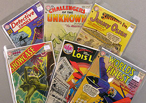 Examples of DC silver age titles:Detective, Challengers of the Unknown, Jimmy Olsen,Showcase, Lois Lane, and World's Finest