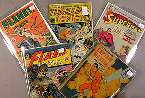 Just a few Golden Age ten cent titles: Planet, Thrilling, Superman, Flash , Captain Marvel