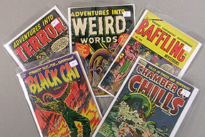 Some great Pre-Code titles: Adventures into Terror, Adventures into Weird Worlds, Baffling, Black Cat, Chamber of Chills